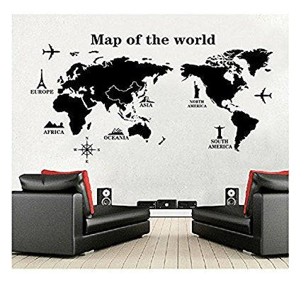 World map wall decal vinyl wall art removable sticker large peel world map wall decal vinyl wall art removable sticker large peel and stick art gumiabroncs Image collections