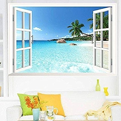 Large Removable Beach Sea 3D Window Decal WALL STICKER Home Decor Exotic Beach View Art Wallpaper Mural - 7ProductGroup