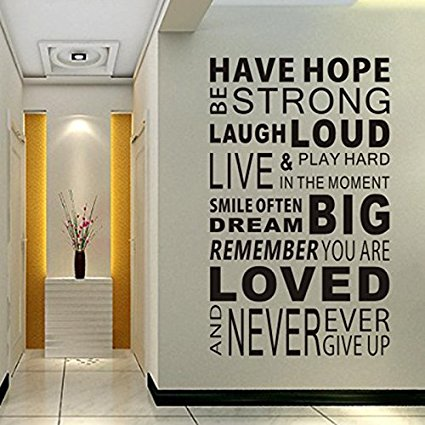 Inspirational Wall Decals Quotes,Word Wall Sticker Quotes,Family Inspirational Wall Art Sticker Vinyl Wall Mural Paint Decor by Delma(TM) - 7ProductGroup