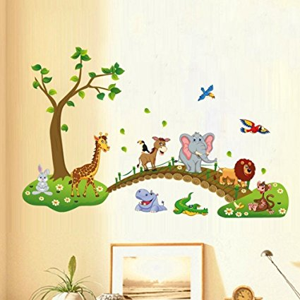 jungle animal across the bridge removable cartoon wall sticker wall