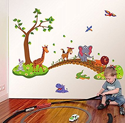 Jungle Animal Across The Bridge Removable Cartoon Wall Sticker - Wall decals jungle
