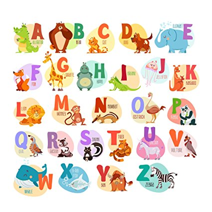 Alphabet Animals ABC Wall Decals Peel and Stick Easily Removable for Daycare School Kids Room Decoration Decals For Baby Boys Girls - Top Quality - Nursery Educational Wall Art (Large Alphabet) - 7ProductGroup