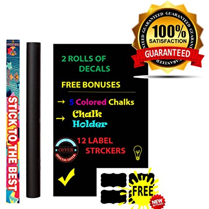 Best Blackboard Wall Decals - Premium Vinyl Contact Paper For Kids, Office,Restaurant Menu Chalkboard, Wallpaper, Art Quotes, Home Kitchen Stickers - FREE Colored Chalks, Chalk Holder & 12 Labels - 7ProductGroup