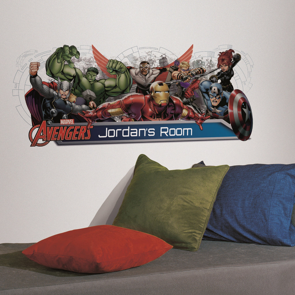 Avengers Assemble Headboard Giant Wall Decal with Alphabet