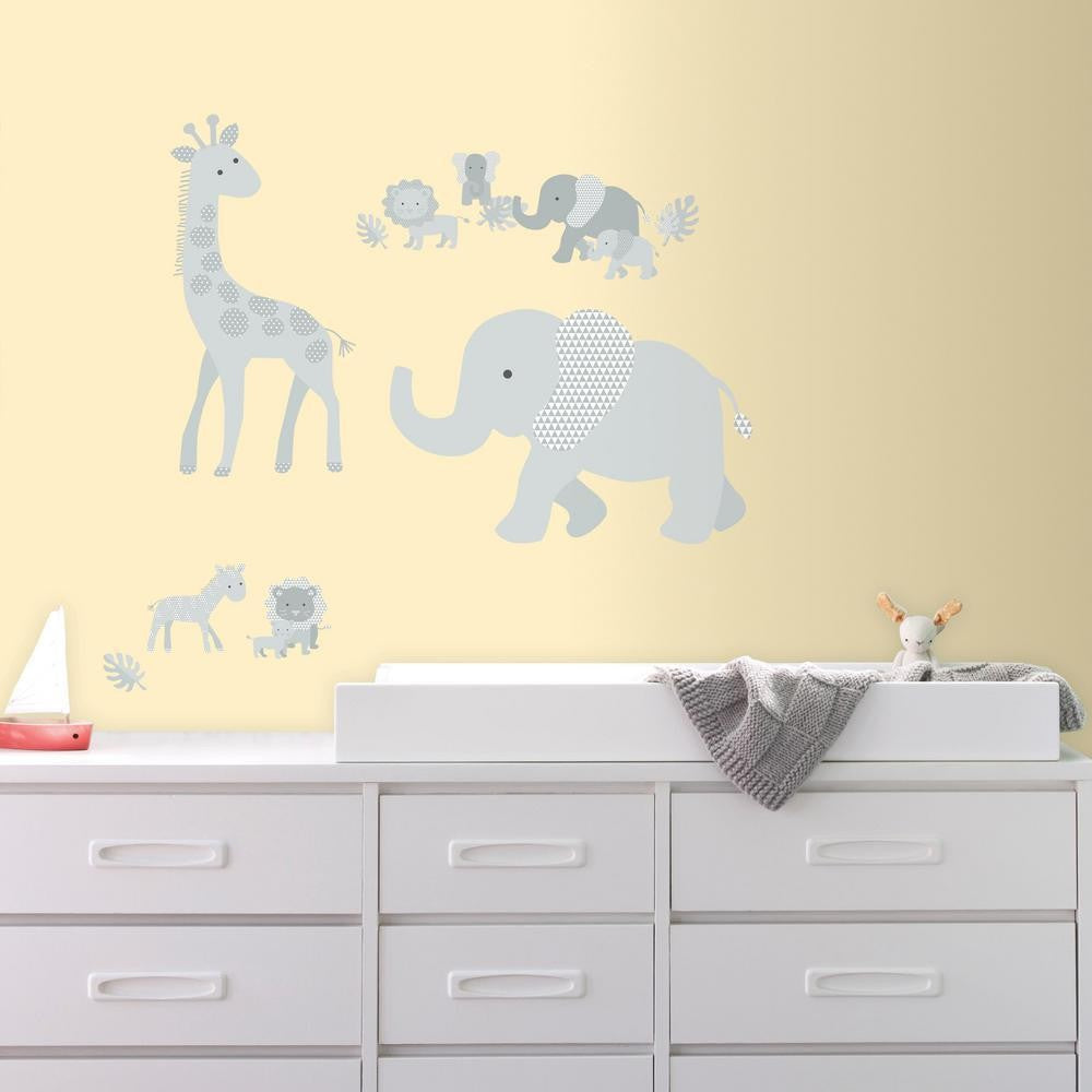 Baby Safari Animals Peel and Stick Giant Wall Decals | 7ProductGroup