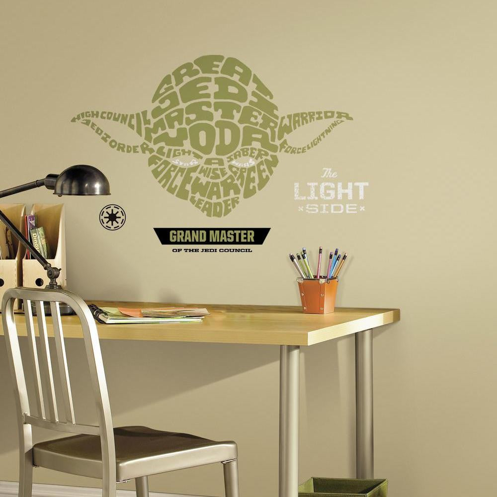 Star Wars™ Typographic Yoda Giant Wall Decal - 7ProductGroup