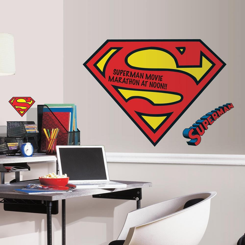 Dry Erase Superman S-Shield Logo Giant Wall Decals - 7ProductGroup