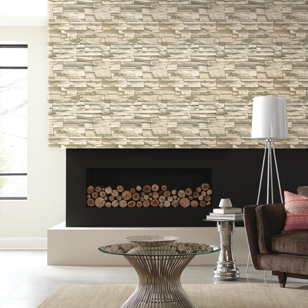 Natural Stacked Stone Peel and Stick Wallpaper - 7ProductGroup