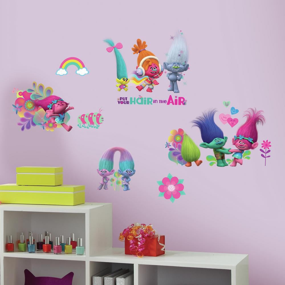 Trolls Movie Peel and Stick Wall Decals With Glitter - 7ProductGroup