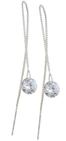 @Fedol 925 Silver Long Dangling Earrings, 8mm Naked Drill Cubic Zirconia, 10cm Line