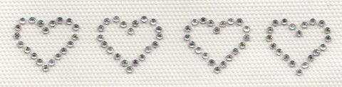 4 Mini Hearts Iron On Hot Fix Rhinestone Transfer -- AB Clear