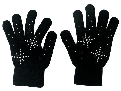 @Fedol Lady's Magic Stretch Gloves with Rhinestones Snow Flakes - One Size