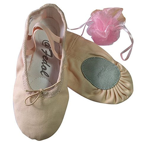 Girl's Canvas Split-sole Ballet Slippers, Ballet Shoes. Free Gift Bag.