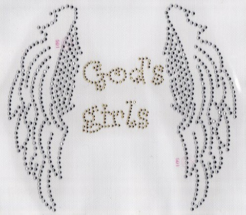 Angel Wings Gods Girls Iron On Hot Fix Rhinestone Transfer -- Clear, Gold
