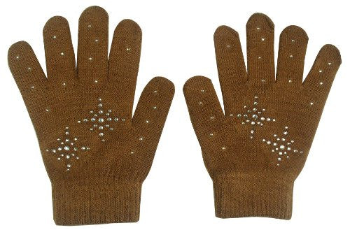 @Fedol Girls Ice Skating Gloves Magic Stretch with Clear Rhinestones Snow Flakes