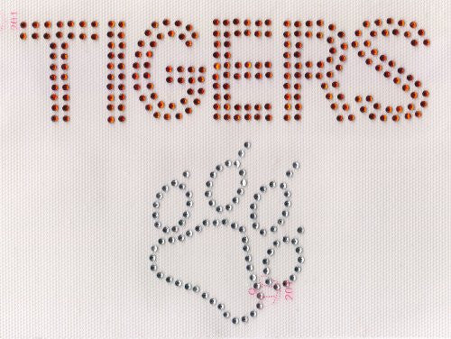 "Tigers/ Paw Iron on Hot Fix Rhinestone Transfer -- Orange&Clear, 6.5"" x 5"""