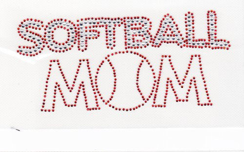 Softball MOM Iron on Hot Fix Rhinestone Transfer