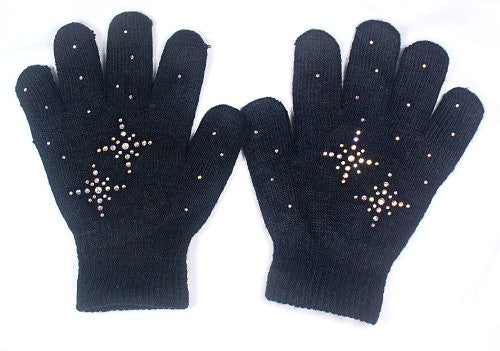 @Fedol Black Ice Skating Gloves--Magic Stretch / AB Clear Rhinestones Snow Flakes