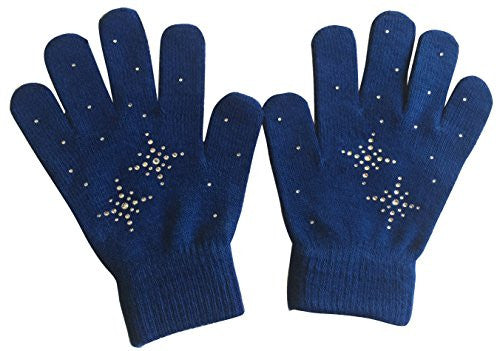 @Fedol Lady's Magic Stretch with Rhinestones Snow Flakes - One Size (Navy Blue / Clear Stone)