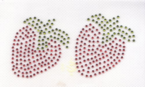 2 Red strawberries Iron On Hot Fix Transfer Rhinestone -- Green and Red