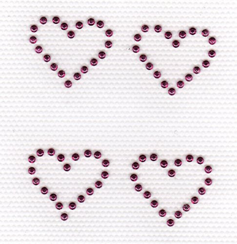 4 Mini Hearts Iron On Hot Fix rhinestuds Transfer -- Hot Pink