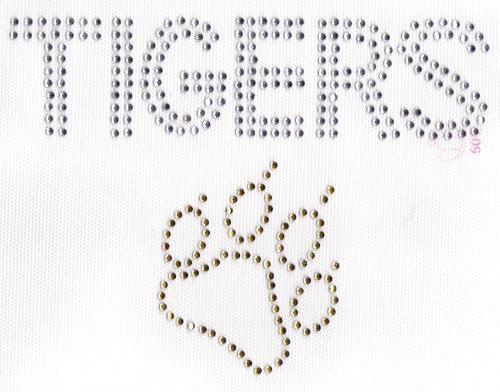 Tigers/ Paw Iron On Hot Fix Rhinestone Transfer -- Clear / Gold