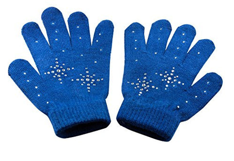 @Fedol Ice Skating Gloves -- Magic Stretch Clear Rhinestones Snow Flakes -- Navy Blue
