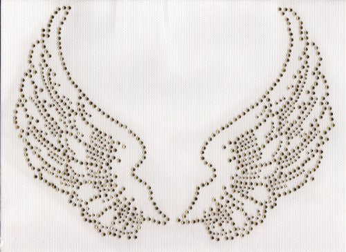 Large Angel Wings Iron On Hot Fix Rhinestone Transfer -- Topaz