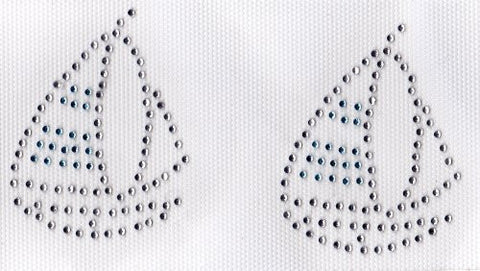 2 small Sail Boat Iron On Hot Fix Rhinestone Transfer -- Clear and Lt. Blue