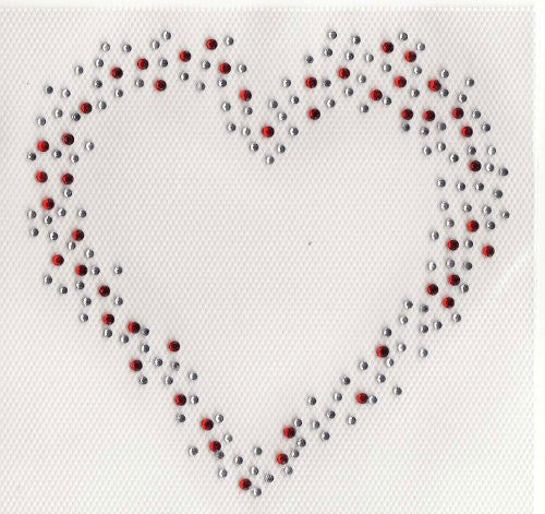 Heart Iron On Hot Fix Transfer Rhinestone -- Clea and Red