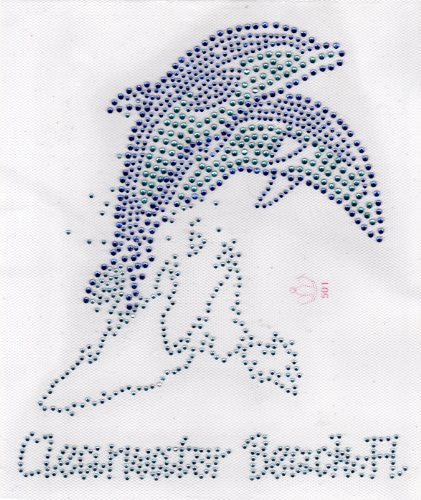 Clearwater Beach FL Dolphins Iron On Hot Fix Rhinestone Transfer -- clear and blue