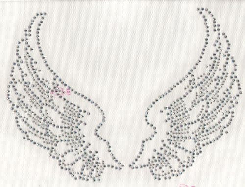 Large Angel Wings Iron On Hot Fix Rhinestone Transfer -- AB Clear