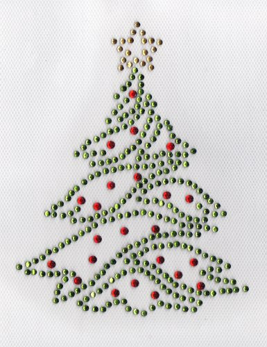 xMas Tree Iron On Hot Fix Rhinestone Transfer -- green