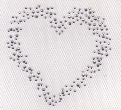 Heart Iron On Hot Fix Transfer Rhinestone -- Clear