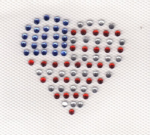 US flag Heart Iron On Hot Fix Rhinestone Transfer
