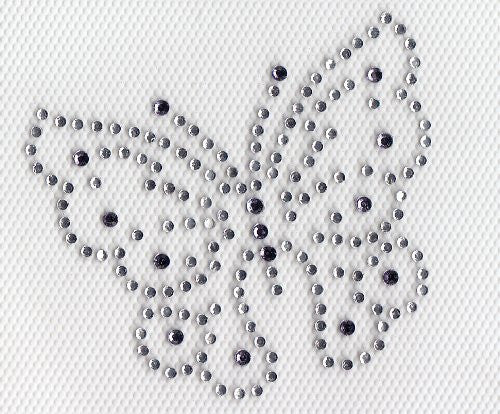 Butterfly Iron On Hot Fix Rhinestone Transfer --clear and Tanzanite