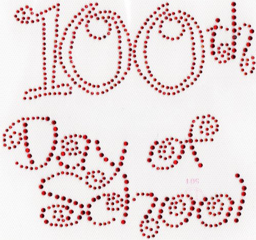 100th day of school (large) Iron On Hot Fix Rhinestone Transfer --Red