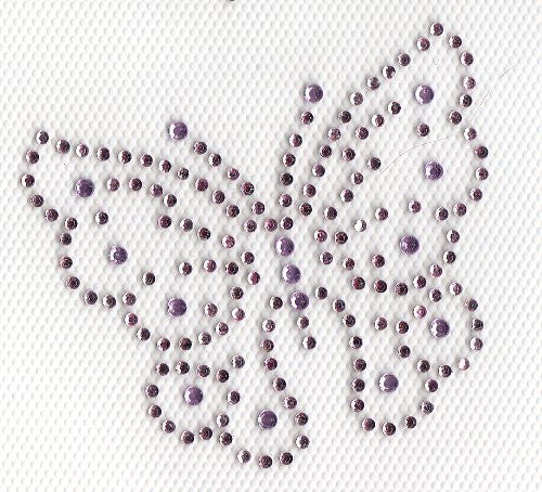 Butterfly Iron On Hot Fix Rhinestone Transfer --Lt . Pink