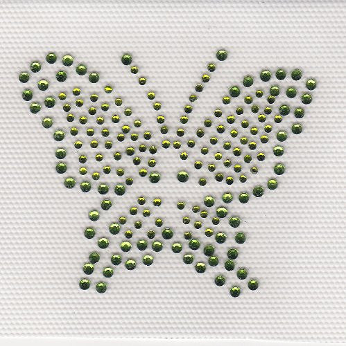 Butterfly Iron On Hot Fix Rhinestone Transfer --Green