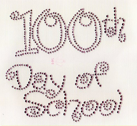 100th Day of School (Large) Iron on Hot Fix Rhinestone Transfer --Hot Pink