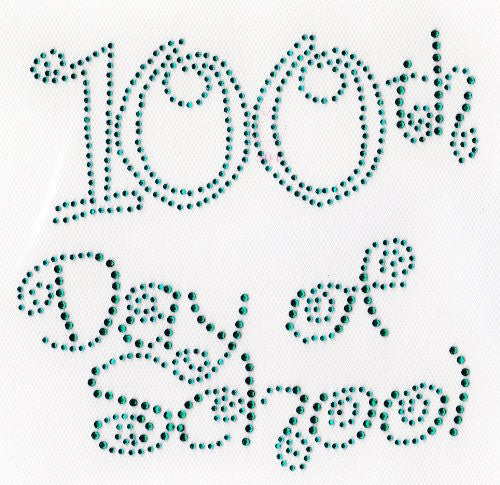 100th day of school (large) Iron On Hot Fix Rhinestone Transfer -- Emerald Green
