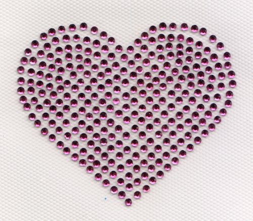 "Heart Iron On Hot Fix Rhinestone Transfer -- Hot Pink, 3.25"" x 3"""