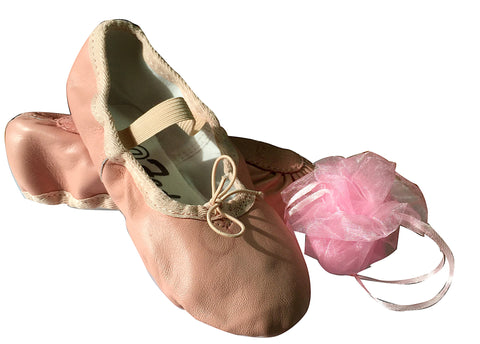 Girl's Leather Ballet Slippers, Ballet Shoes. Free Gift Bag.