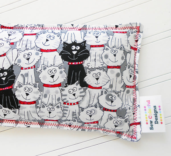 Black Cat: Flax Seed Hot / Cold Pack | Microwavable Heating Pad and Ice Pack - Sew Colorful Designs