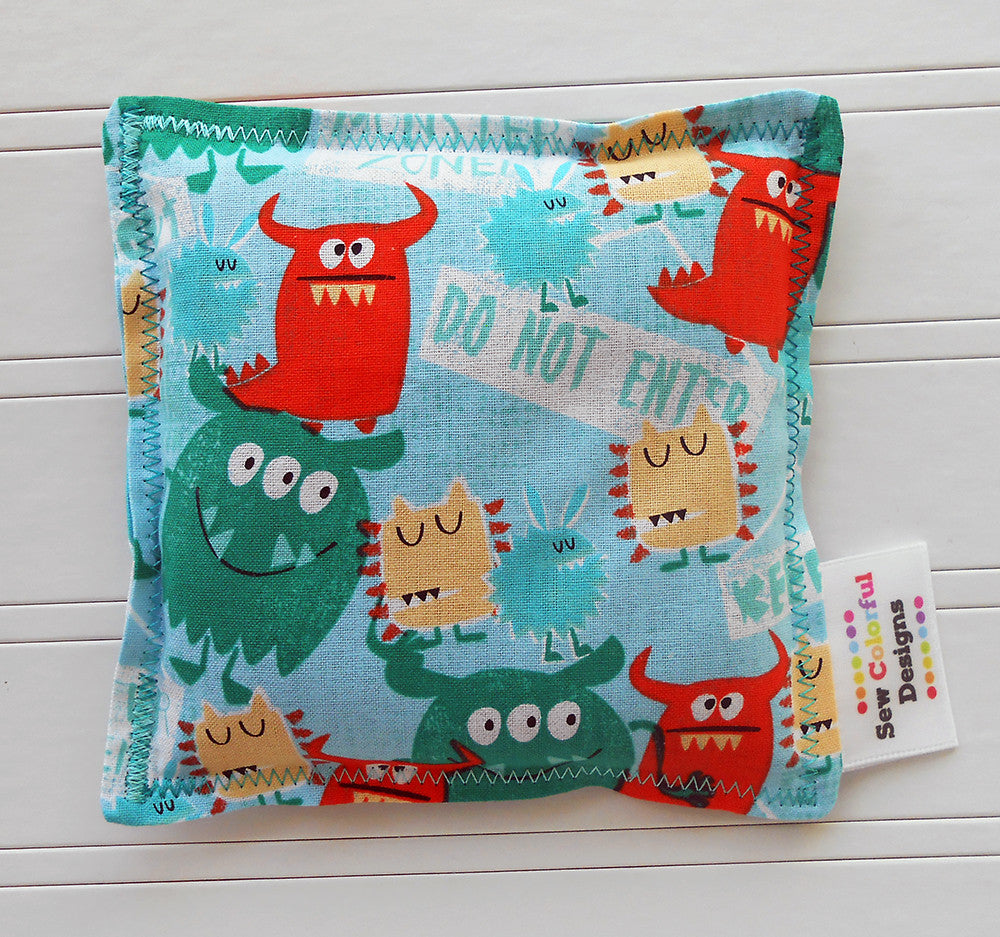 Monster Zone: Flax Seed Hot/Cold Pack | Microwavable Heating Pad and Ice Pack - Sew Colorful Designs