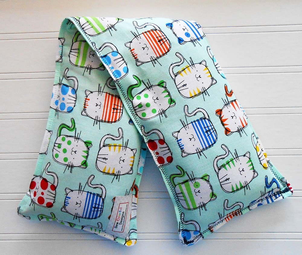 Sketchy Cats: Flax Seed Hot/Cold Pack | Microwaveable Heating Pad and Ice Pack - Sew Colorful Designs