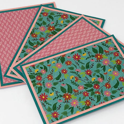 Desert Garden: Blank Notecard Set of 4 Cards, 2 Each of 2 Different Designs with Matching Embellished Envelopes