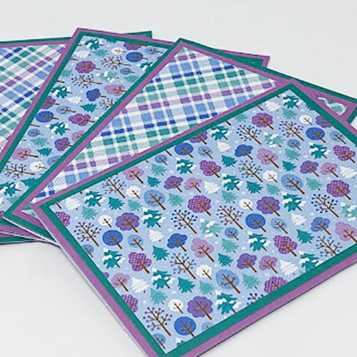 Frosted Forest: Blank Notecard Set of 4 Cards, 2 Each in 2 Different Designs with Matching Embellished Envelopes