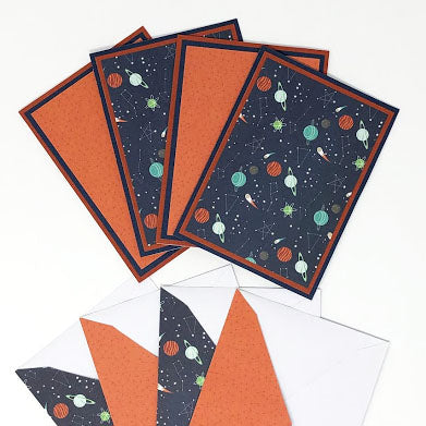 Galaxy: Blank Notecard Set of 4 Cards, 2 Each of 2 Different Designs with Matching Embellished Envelopes