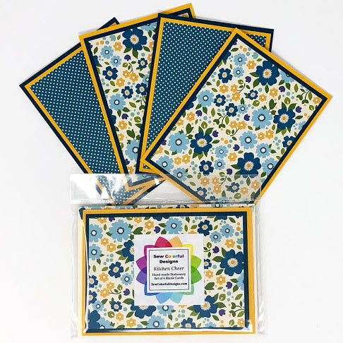 Kitchen Cheer: Blank Notecard Set of 4 Cards, 2 Each of 2 Different Designs with Matching Embellished Envelopes